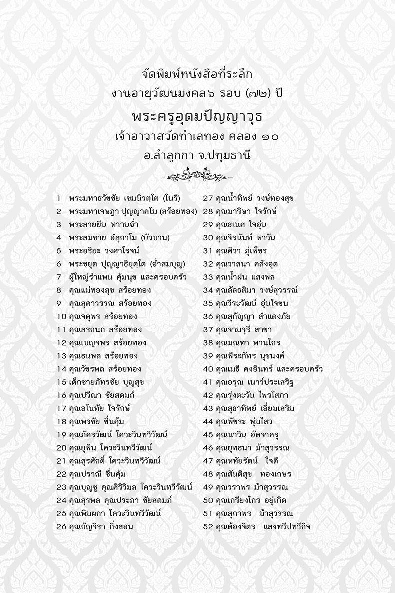 ตัวอย่าง รายชื่อผู้ร่วมจัดพิมพ์หนังสือธรรมะ ที่ไสกาวไปในหนังสือธรรมะเพื่อแจกเป็นธรรมทาน